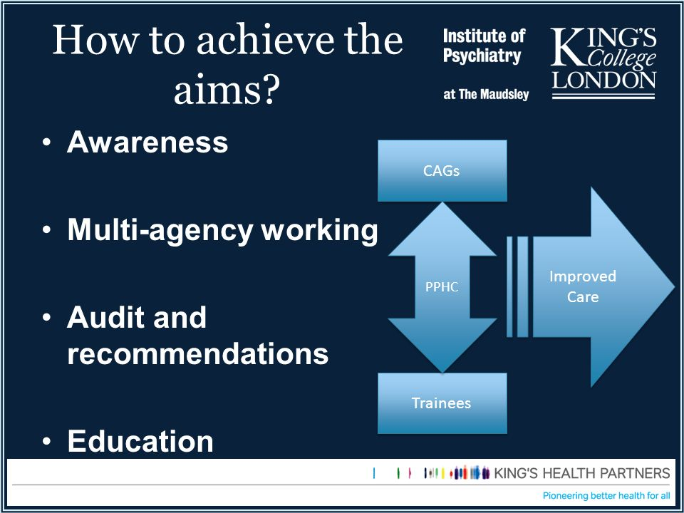 How to achieve the aims Awareness Multi-agency working