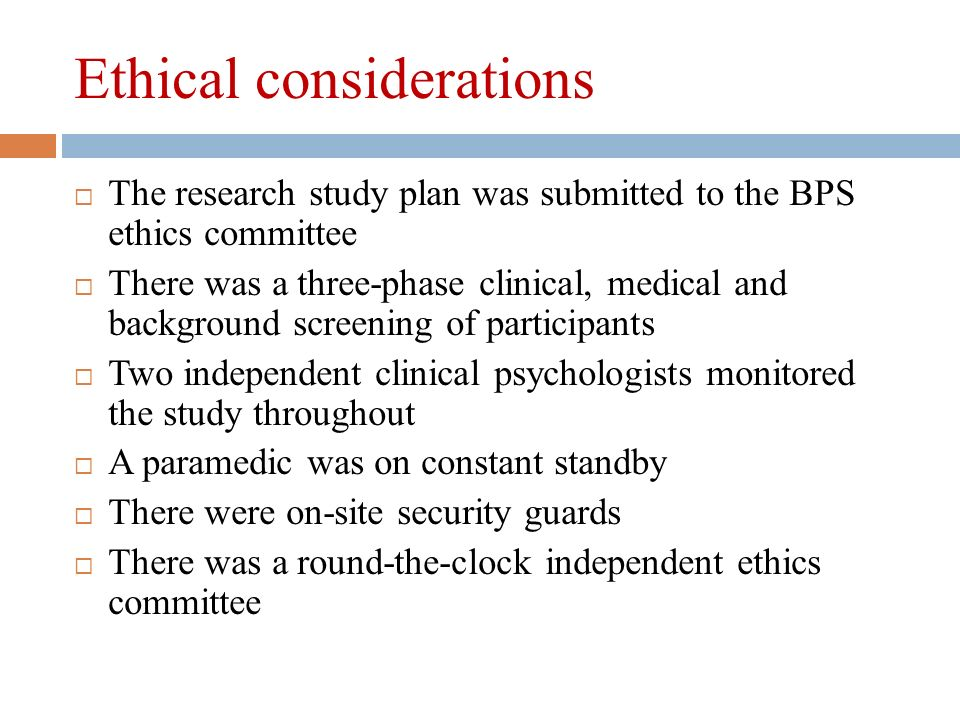 Elements of ethical considerations in a research