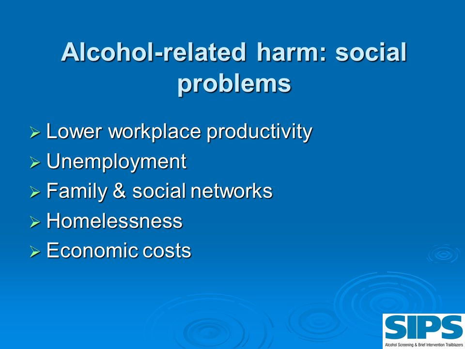 Alcohol-related harm: social problems