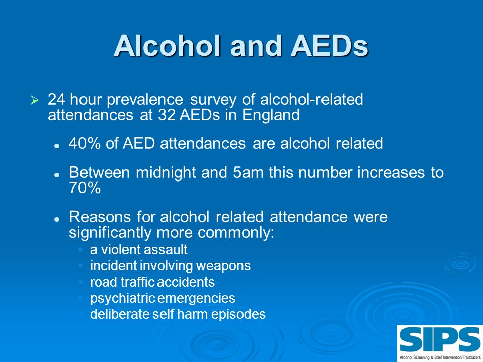 Alcohol and AEDs 24 hour prevalence survey of alcohol-related attendances at 32 AEDs in England. 40% of AED attendances are alcohol related.