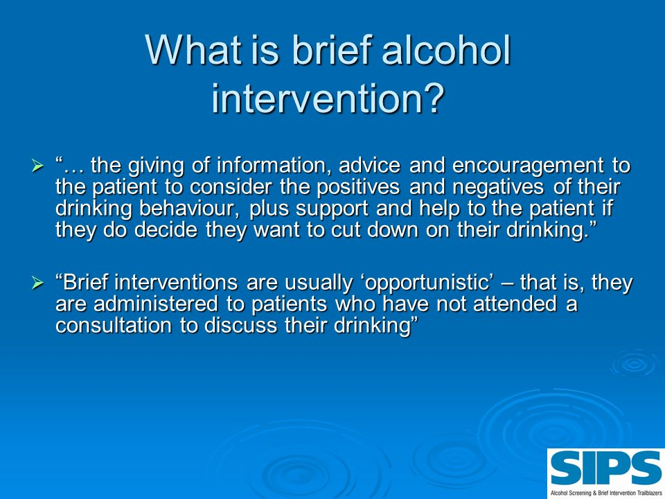 What is brief alcohol intervention