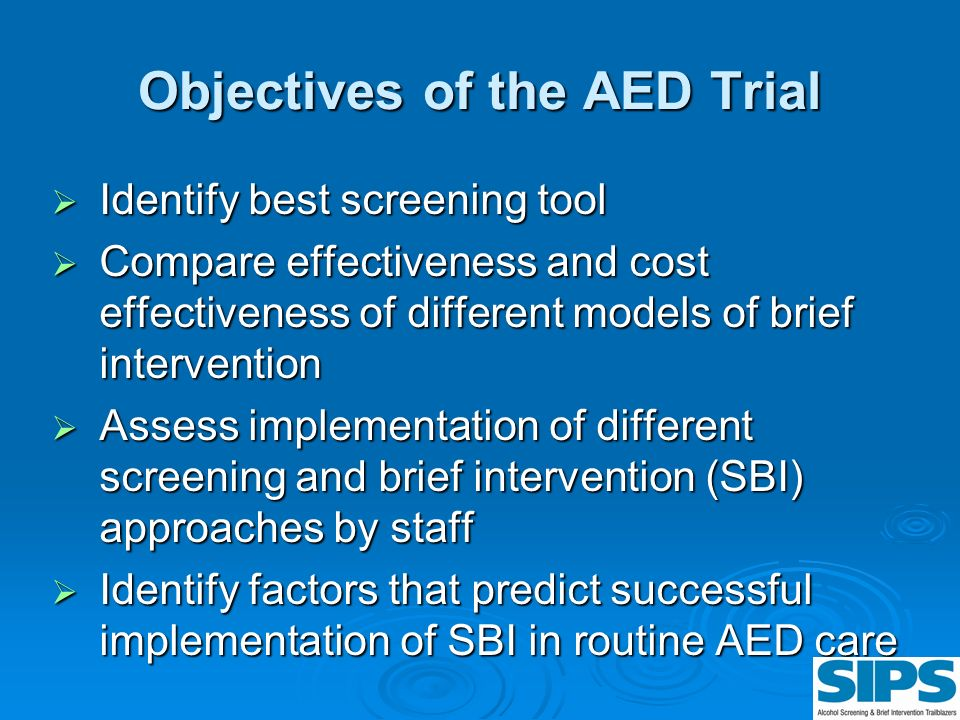 Objectives of the AED Trial
