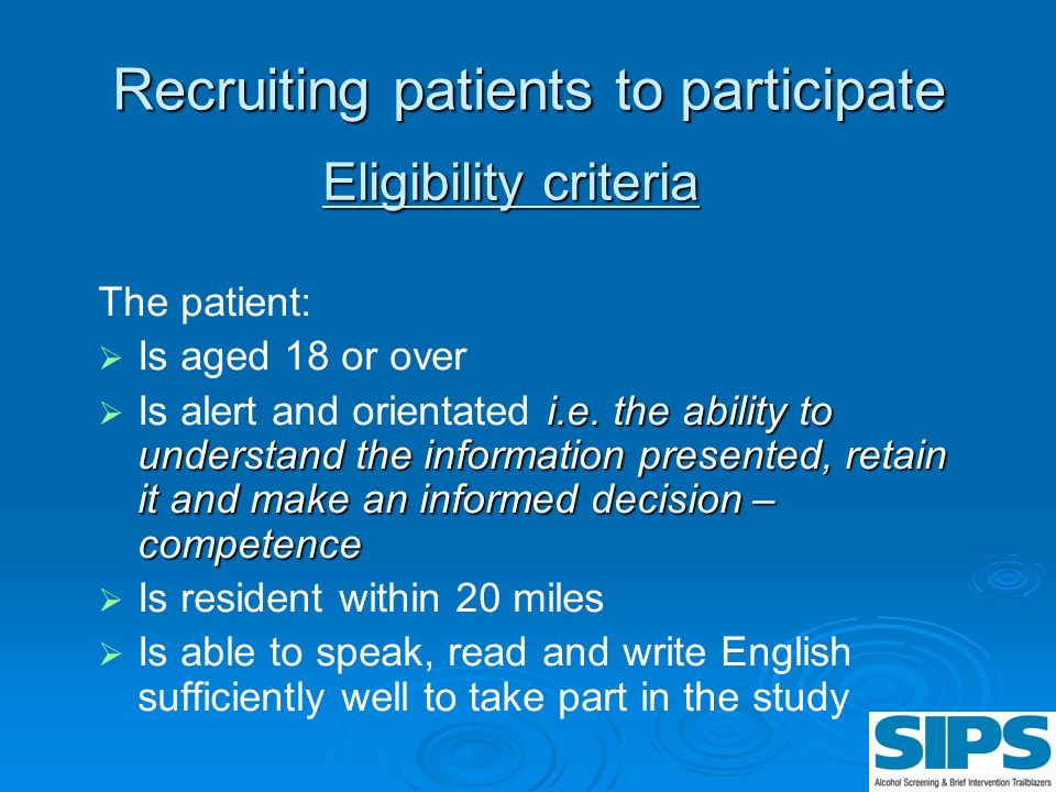 Recruiting patients to participate