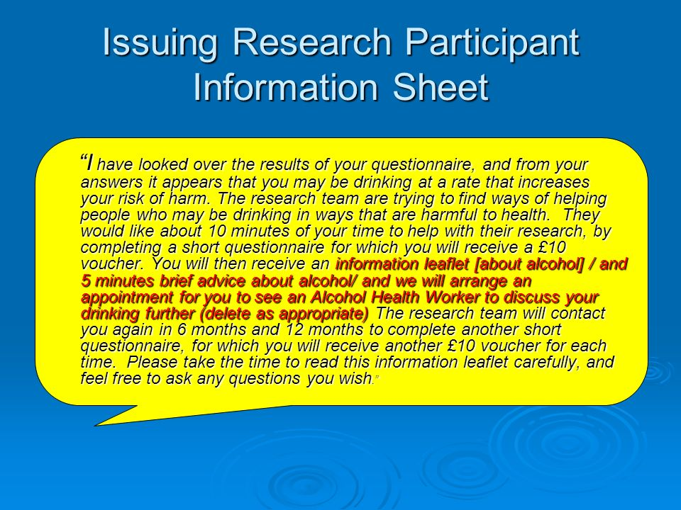 Issuing Research Participant Information Sheet