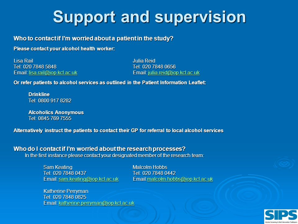 Support and supervision