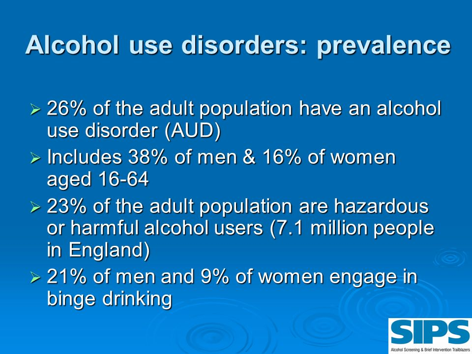 Alcohol use disorders: prevalence