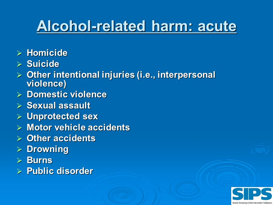 Alcohol-related harm: acute
