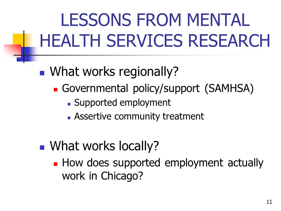 Lessons from mental health services research