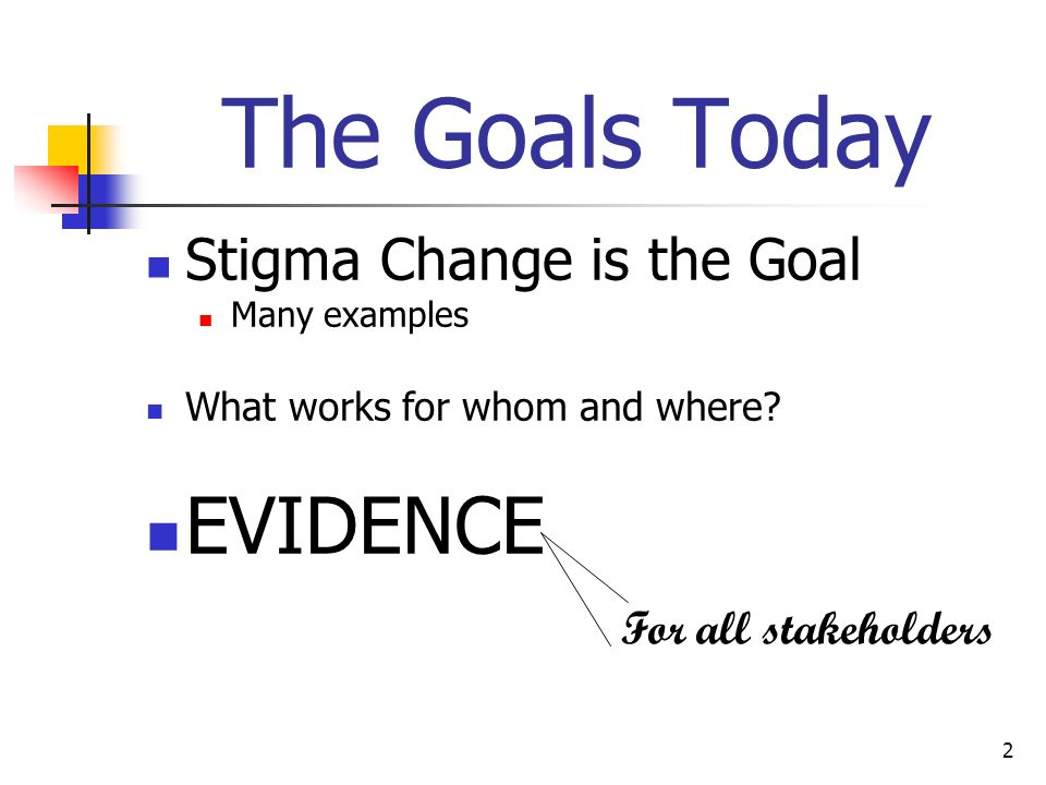 The Goals Today EVIDENCE Stigma Change is the Goal