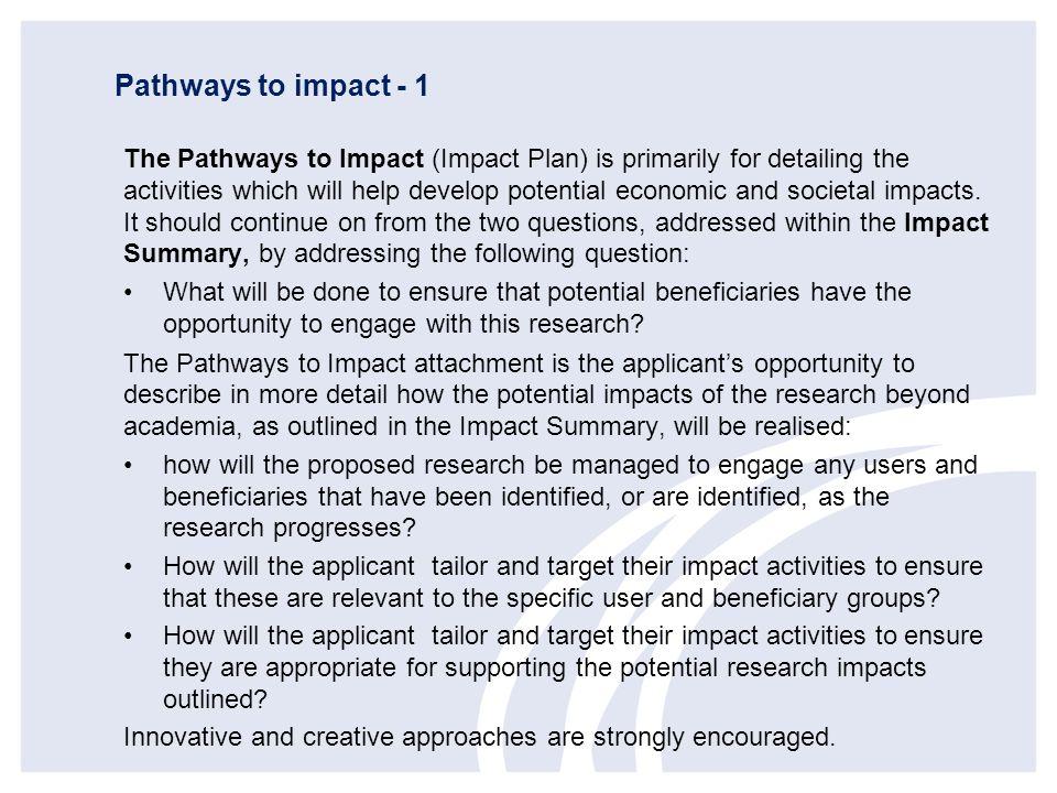 Pathways to impact - 1