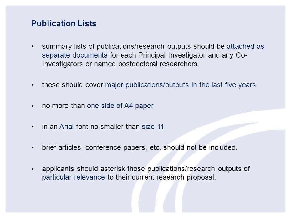 Publication Lists