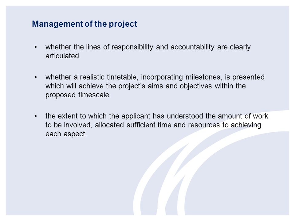 Management of the project