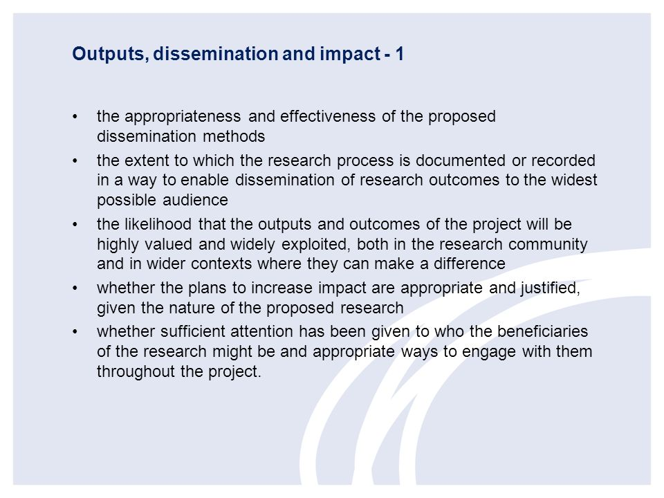 Outputs, dissemination and impact - 1