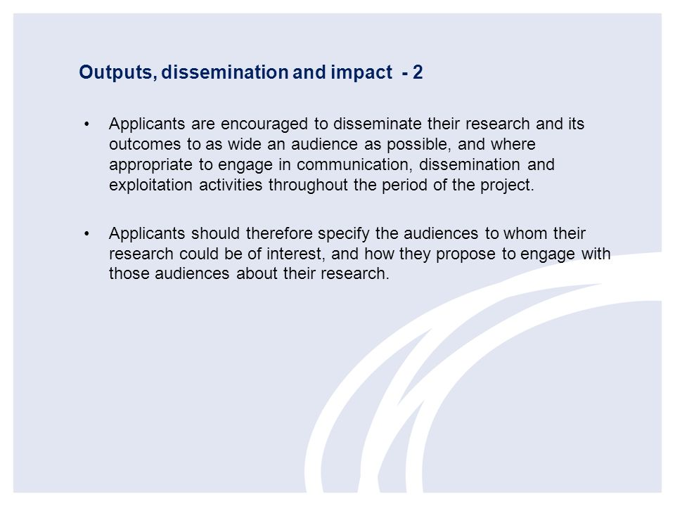 Outputs, dissemination and impact - 2