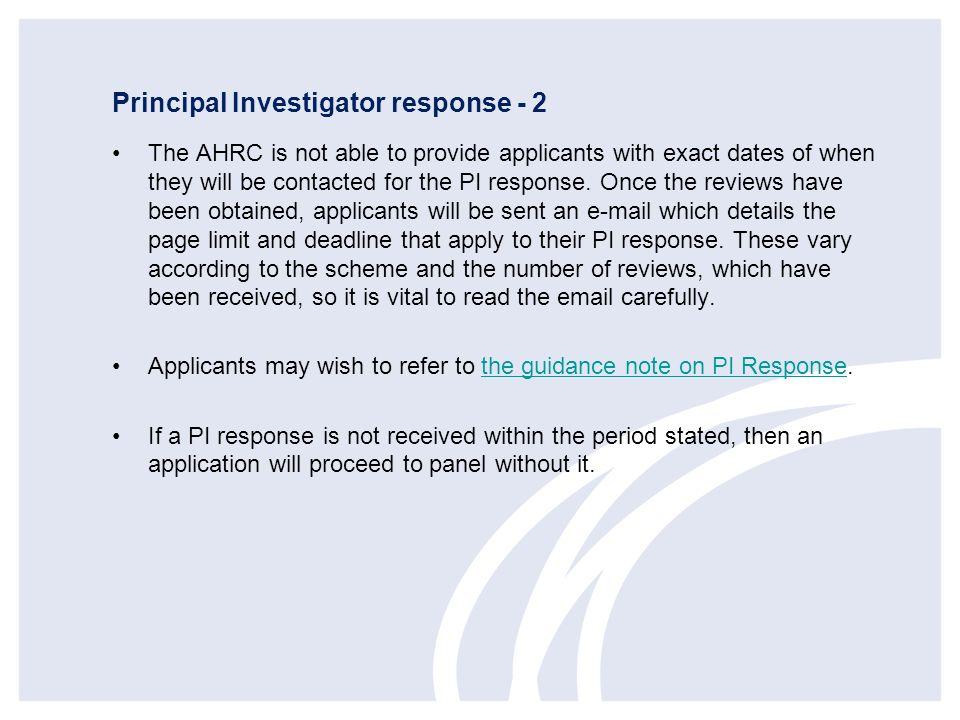 Principal Investigator response - 2