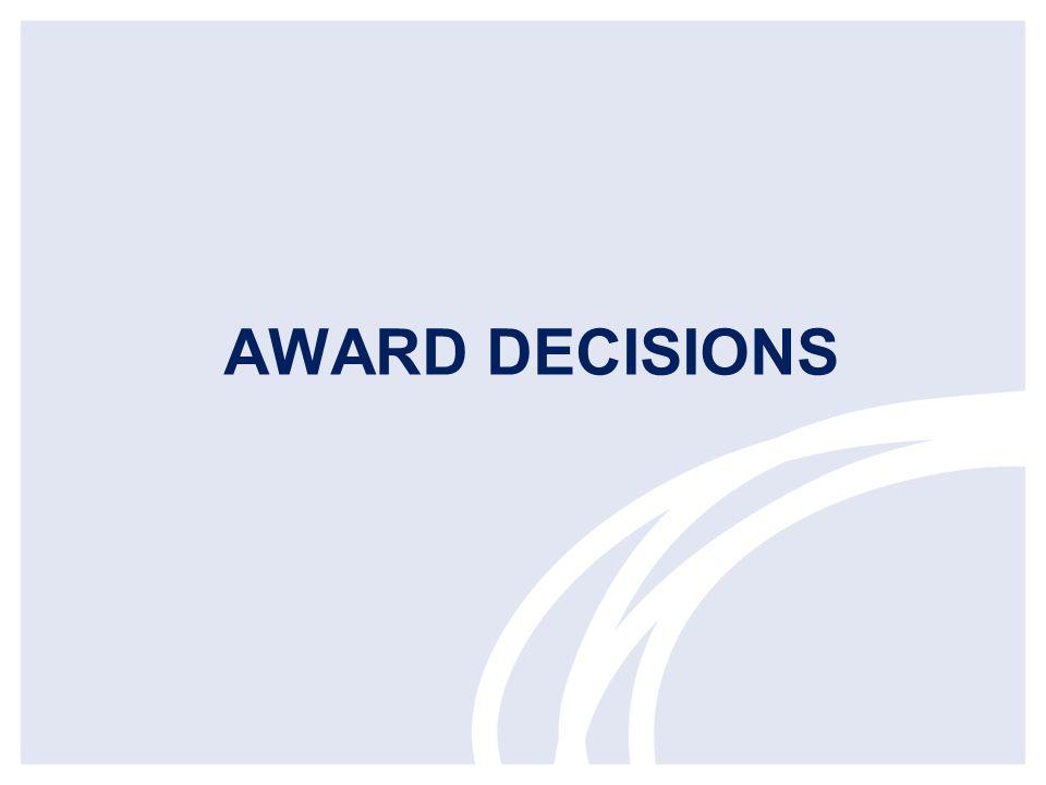 AWARD DECISIONS