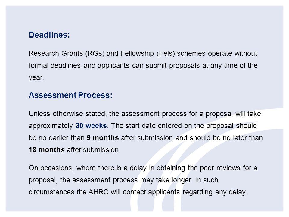 Deadlines: Assessment Process: