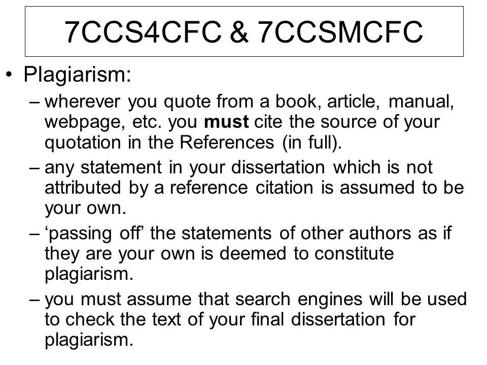7CCS4CFC & 7CCSMCFC Plagiarism: