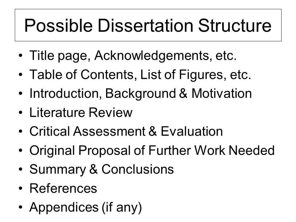 Possible Dissertation Structure