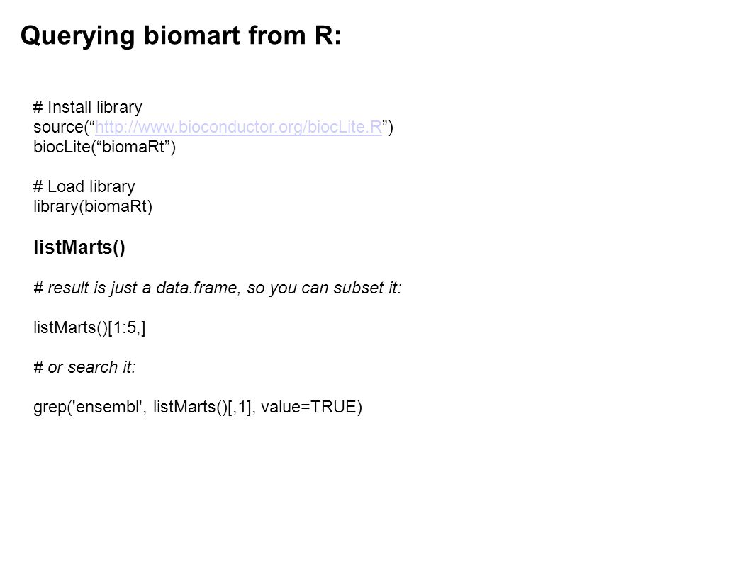 Querying biomart from R: