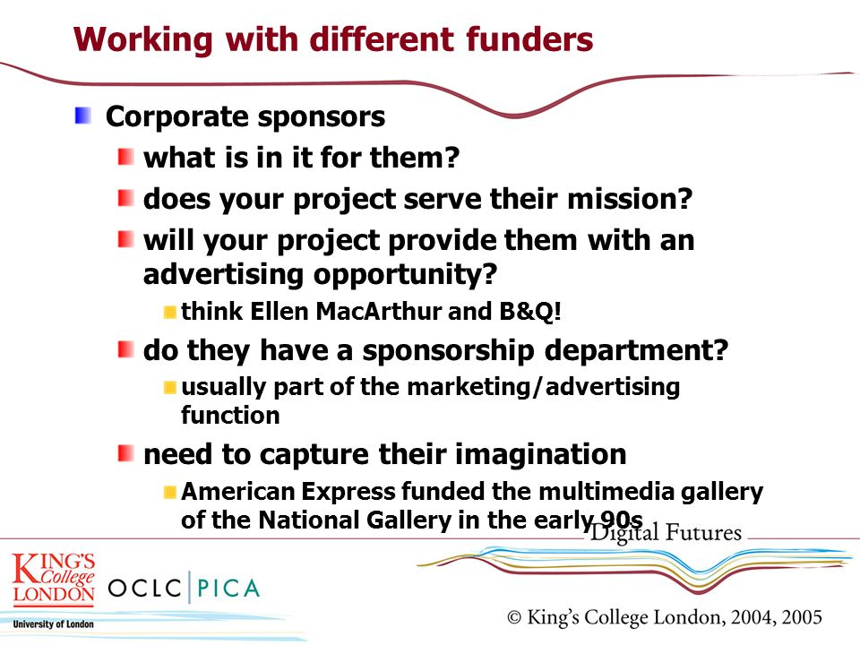 Working with different funders