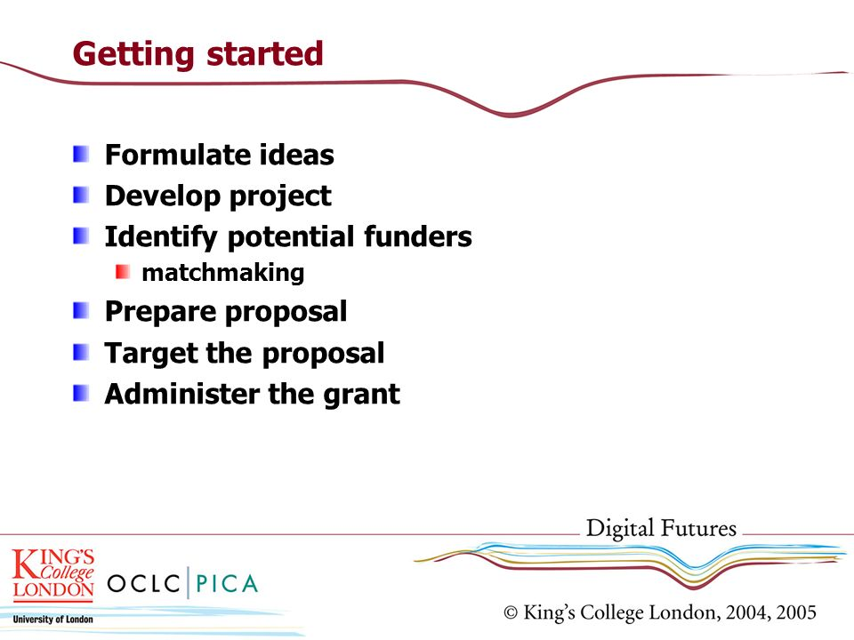 Getting started Formulate ideas Develop project