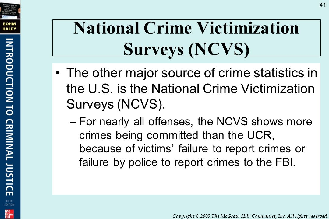 crime reports and victimization Ucr (uniform crime report), and ncvs (national crime victimization survey) 100 part 1 crimes are the most serious of violent offenses  victim reports 500.