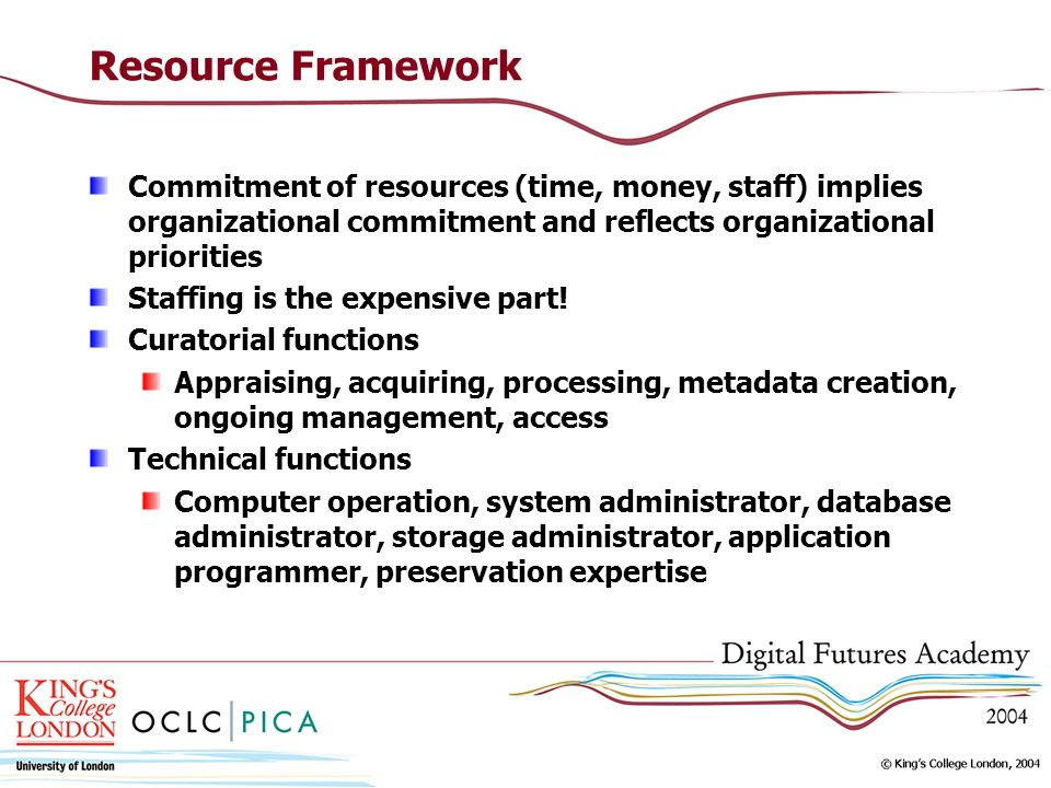 Resource Framework Commitment of resources (time, money, staff) implies organizational commitment and reflects organizational priorities.