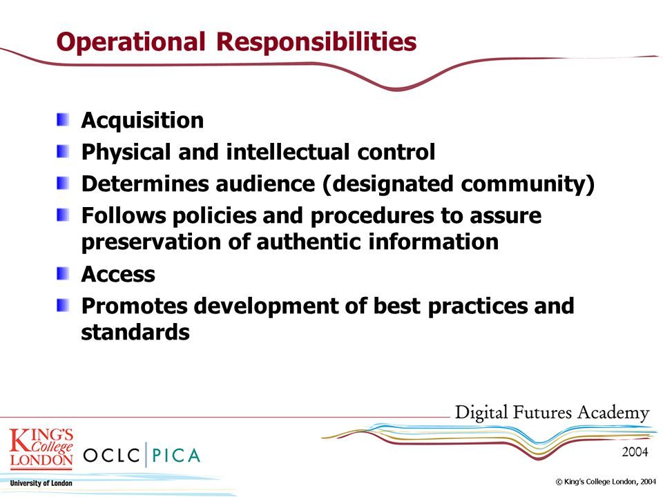 Operational Responsibilities