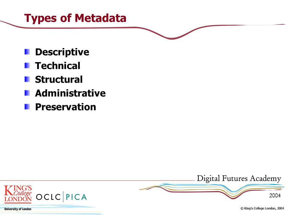 Types of Metadata Descriptive Technical Structural Administrative