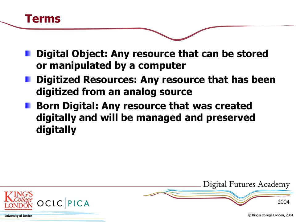 TermsDigital Object: Any resource that can be stored or manipulated by a computer.