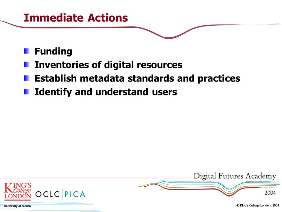 Immediate Actions Funding Inventories of digital resources