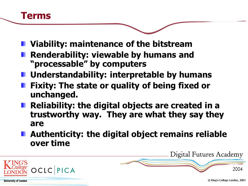 Terms Viability: maintenance of the bitstream