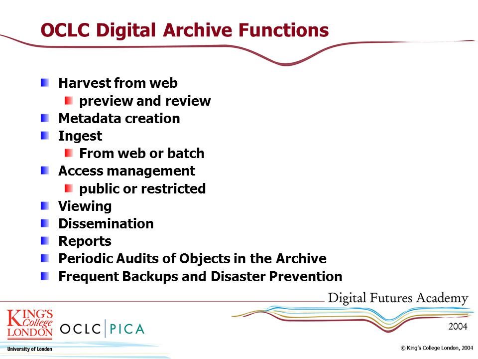 OCLC Digital Archive Functions