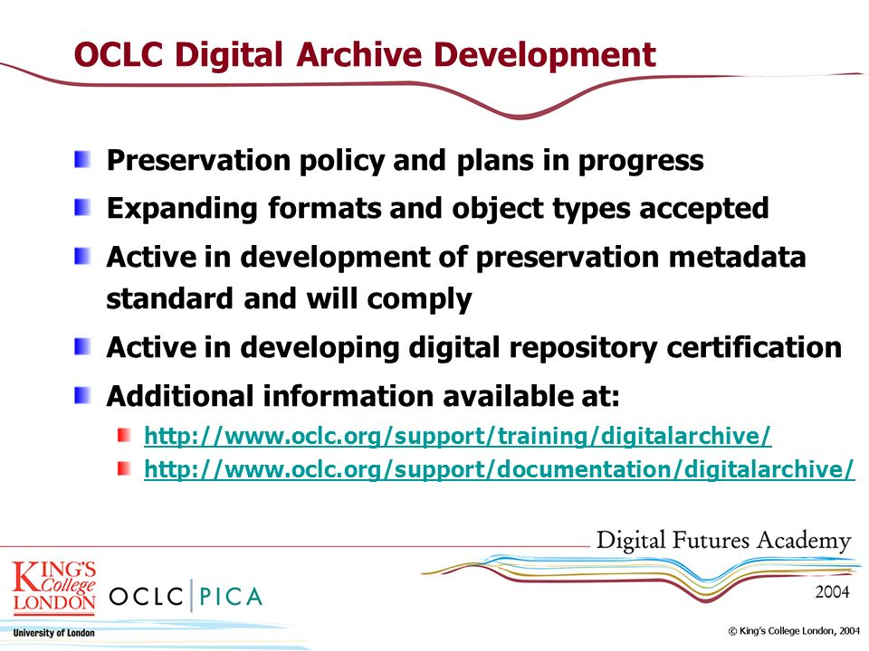OCLC Digital Archive Development