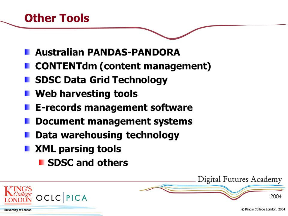 Other Tools Australian PANDAS-PANDORA CONTENTdm (content management)