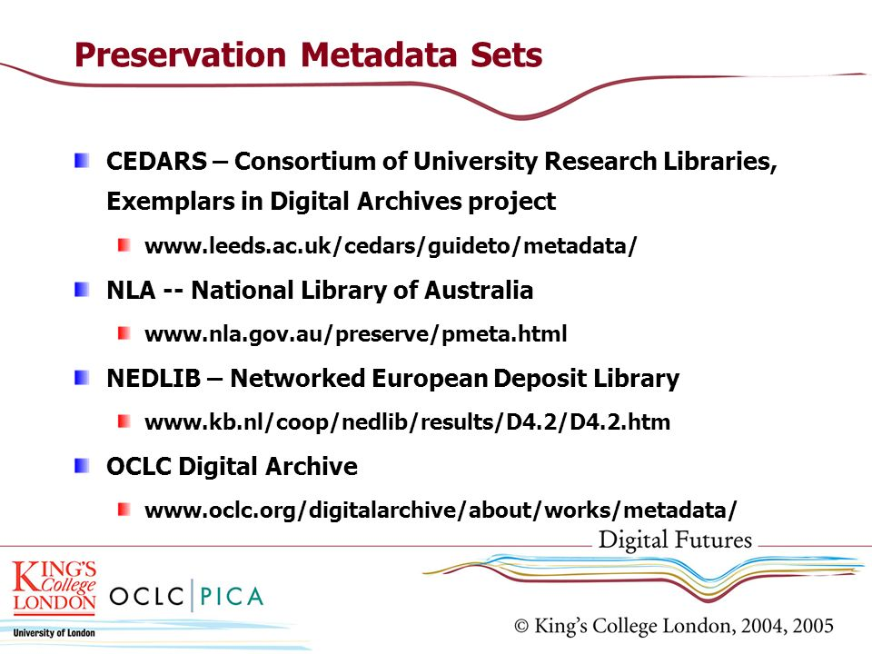 Preservation Metadata Sets