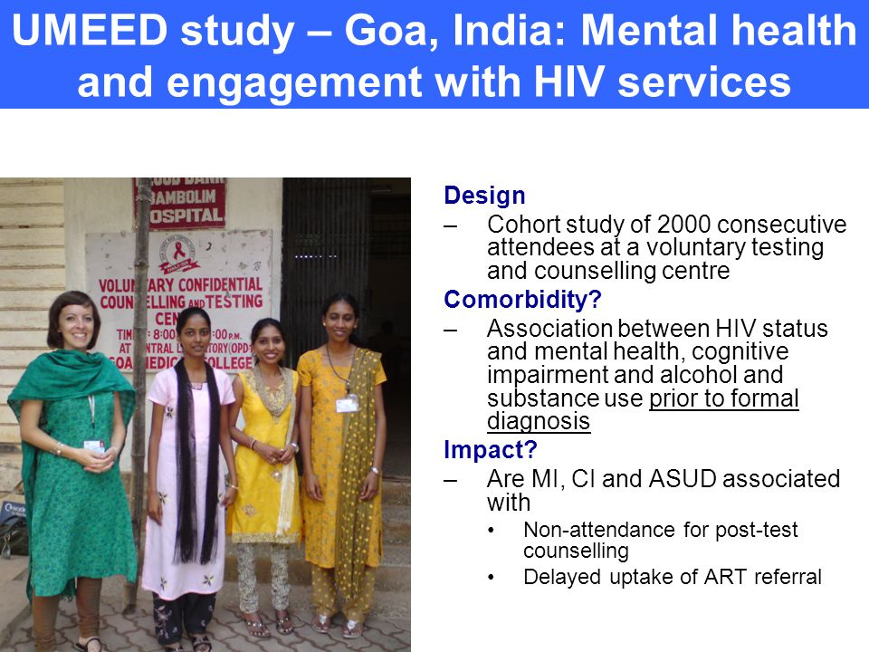 UMEED study – Goa, India: Mental health and engagement with HIV services
