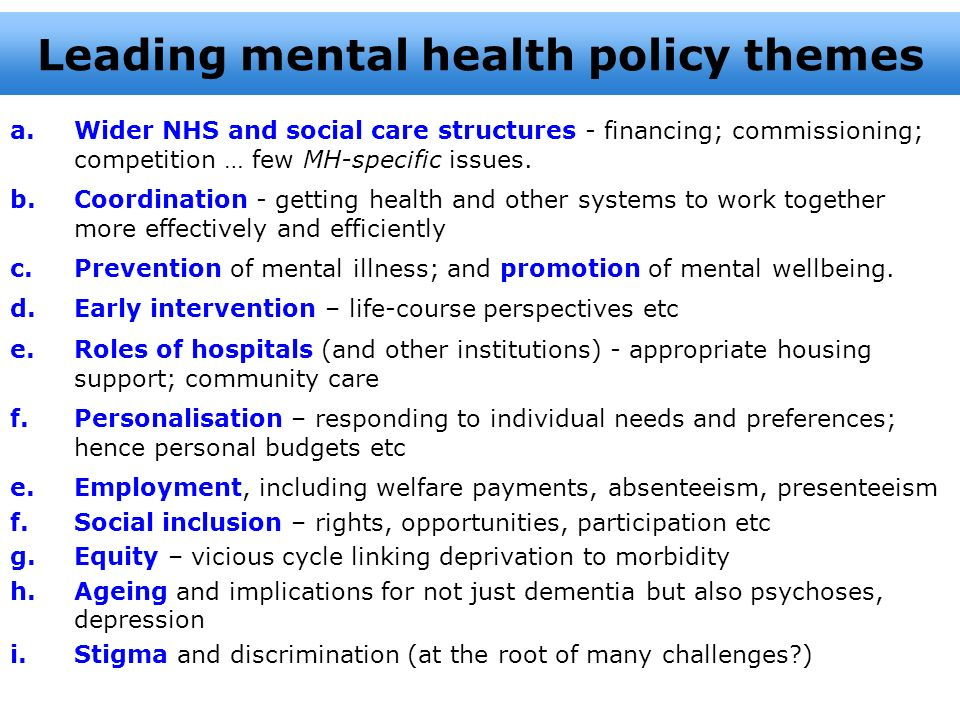 Leading mental health policy themes