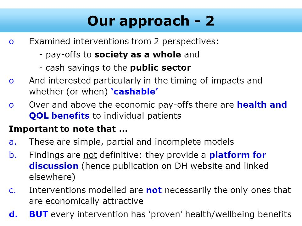 Our approach - 2 Examined interventions from 2 perspectives: