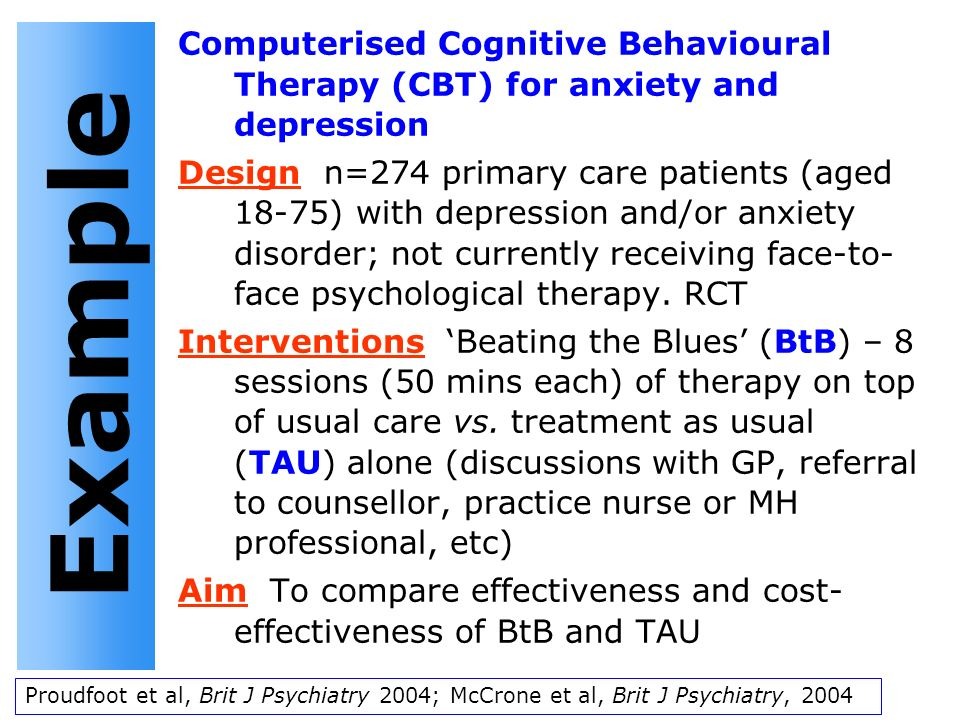 Computerised Cognitive Behavioural Therapy (CBT) for anxiety and depression