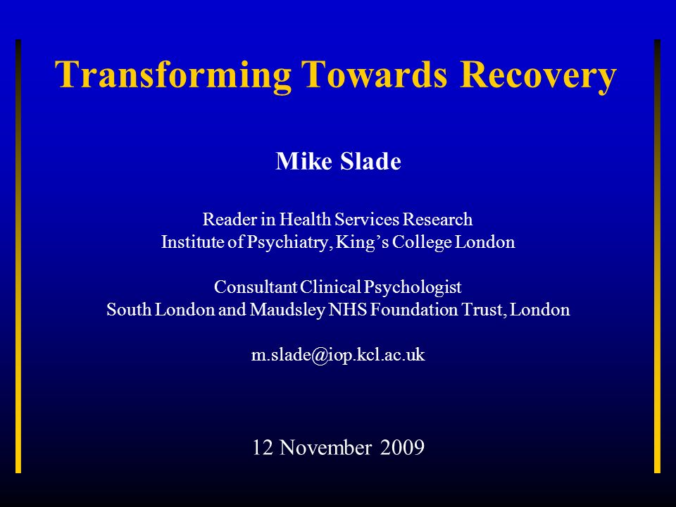 Transforming Towards Recovery