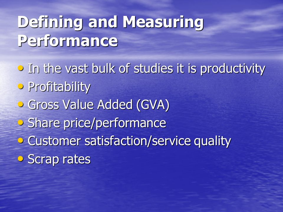 Defining and Measuring Performance