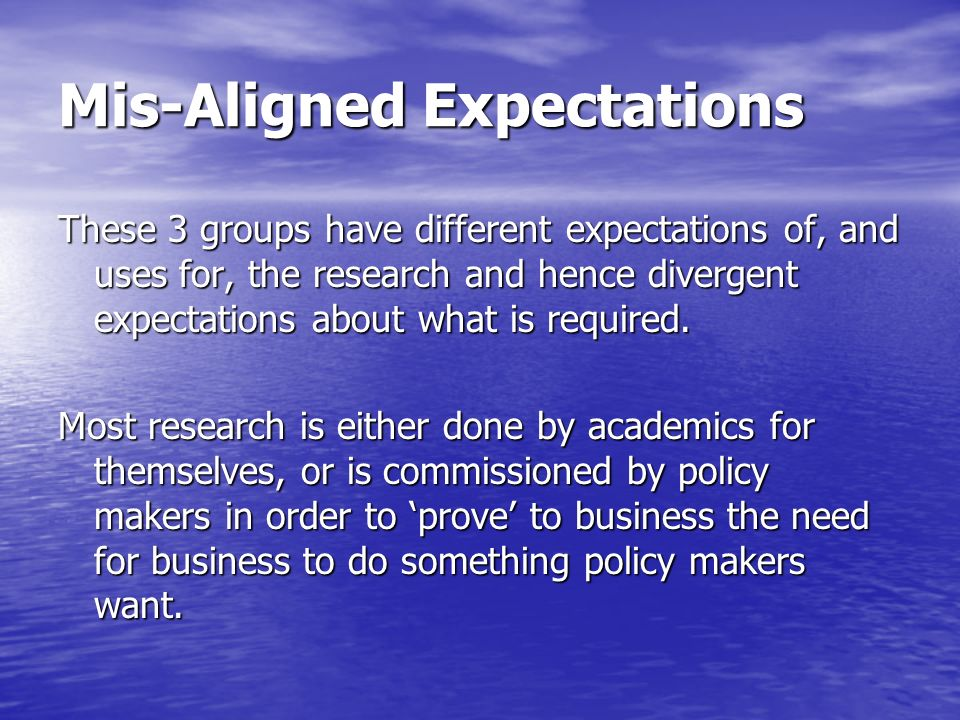 Mis-Aligned Expectations