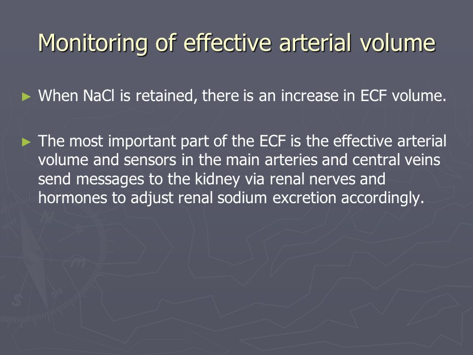 Monitoring of effective arterial volume