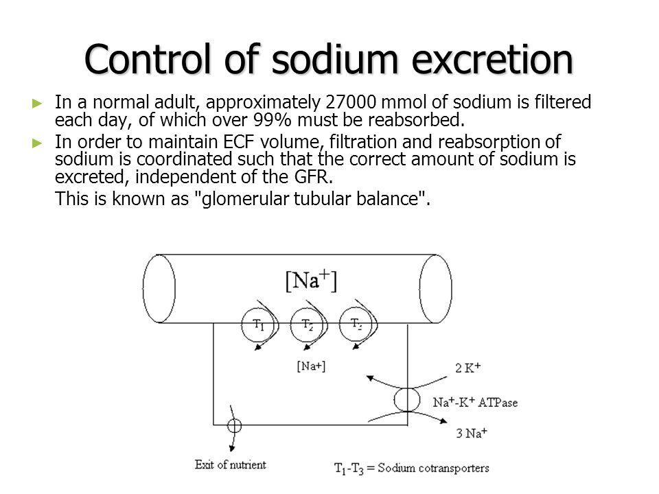 Control of sodium excretion