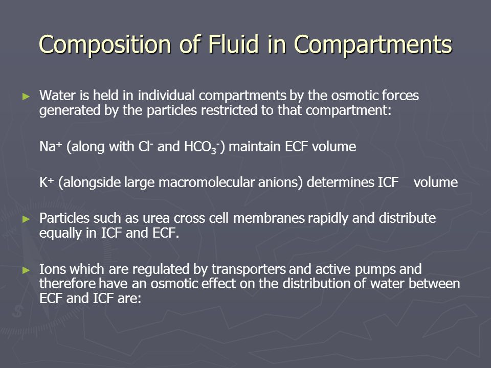 Composition of Fluid in Compartments
