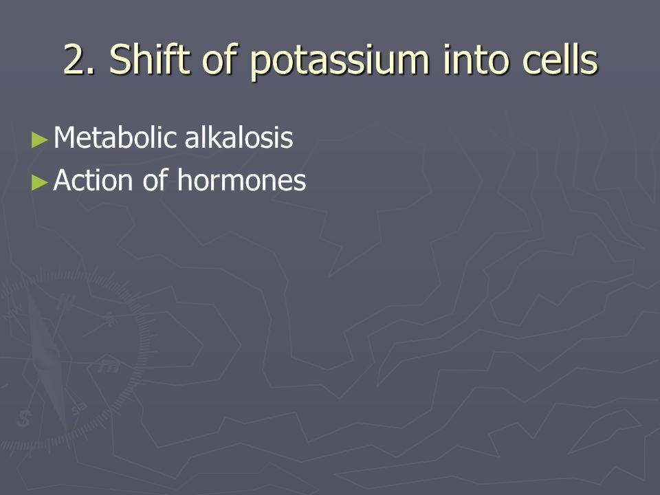 2. Shift of potassium into cells