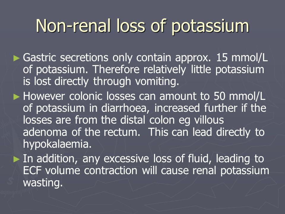 Non-renal loss of potassium