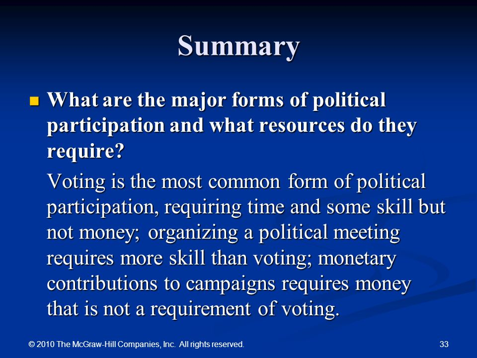 political participation Political participation and civic engagement – essop pahad 22 progressive politics vol 42 political participation (to encompass non-formal, substantive participation), in the political arena.